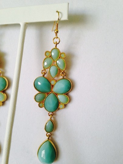 Other Shades Of Aqua Faceted Resin Long Earrings