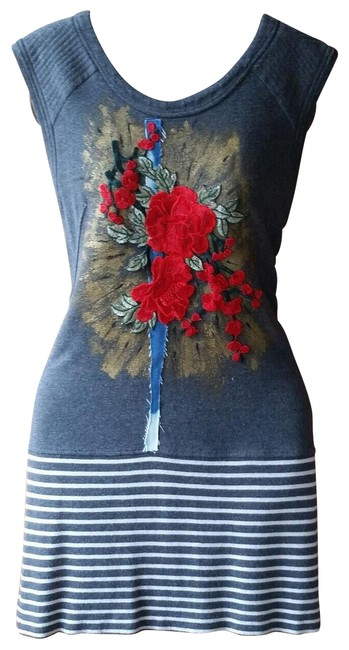 Preload https://img-static.tradesy.com/item/21707210/yoana-baraschi-grey-with-rose-applique-upcycled-knit-hand-painted-short-casual-dress-size-8-m-0-8-650-650.jpg
