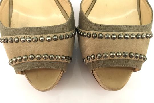 Christian Louboutin Studded Suede Henry Peep Toe Taupe/Brown Platforms