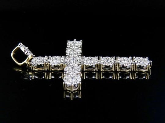 Jewelry Unlimited Men's 14K Yellow Gold Cluster Cross Pendant 2.50 Ct 2.25 Inch
