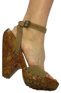 Stella McCartney Carved Heel Studded Canvas Engraved Hand Carved Tan Platforms