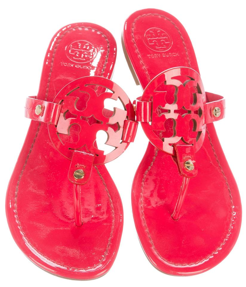 cbca3536aa86 Tory Burch Red Pink Pinkish Patent Leather Miller Sandals Size US ...