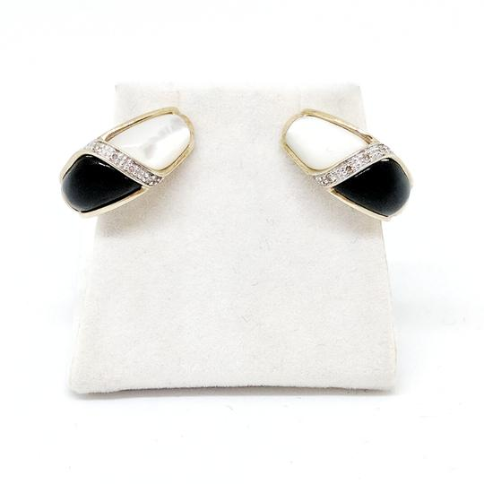 DeWitt's Onyx Mother of Pearl and Diamond Earrings