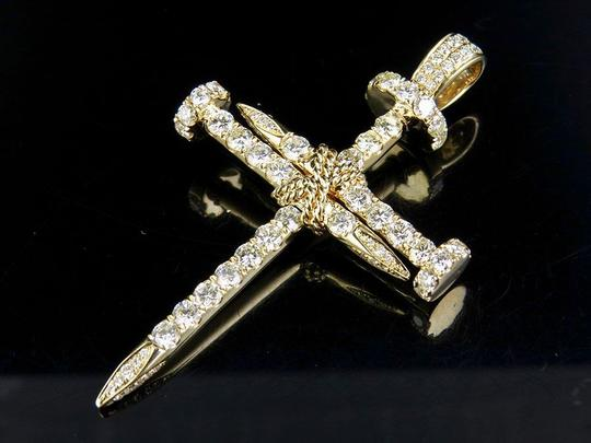 Jewelry Unlimited Solid 14K Yellow Gold Nail Cross Diamond Pendant 4.50 CT 2.5 Inch