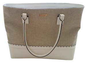 Kate Spade Leather Canvas Natural Tote in Natural/Bright White