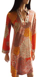 FLORA KUNG Bell Sleeve Split Neck Large Size Mix Print Long Sleeves Dress