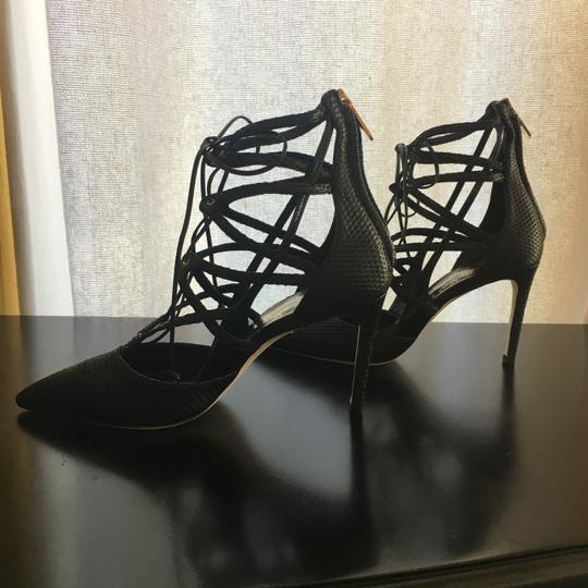 Alejandro Ingelmo Pointed Toe Strappy Lace Up Sexy Black Pumps