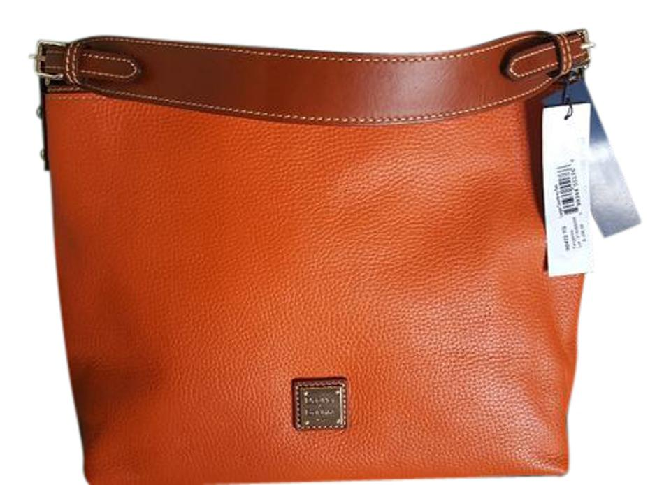 7d70a3e397 Dooney & Bourke Pebbled Grain Large Courtney Sac Tangerine Leather Hobo Bag