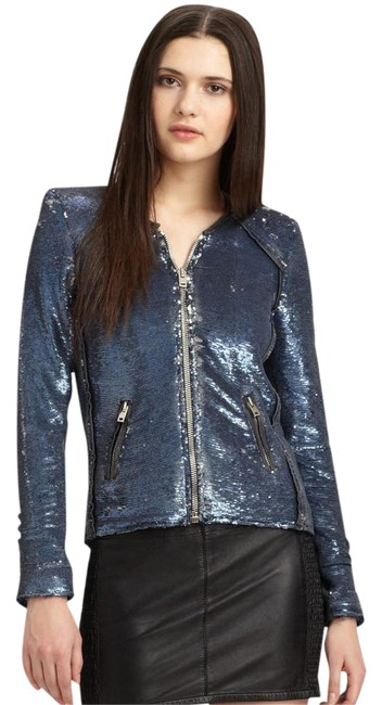 Item - Blue Dylan Sequin Moto Leather Jacket Size 4 (S)