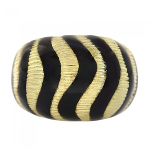 Avital & Co Jewelry 18K Yellow Gold Black Enamel Made In Italy Fashion Women Ring