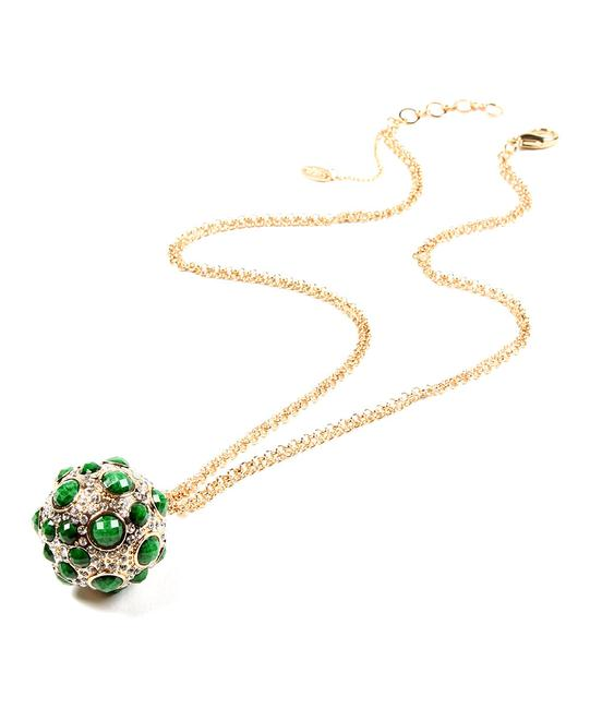 Item - Green Crystal Pebble Ball Pendant Necklace