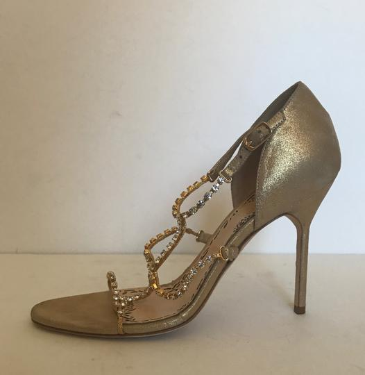 Marchesa Crystal Suede gold Sandals