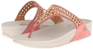 FitFlop Thong Woven Leather Peach Sandals
