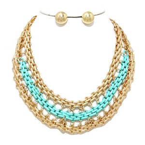 Two Tone Gold Chain Mint Green Statement Necklace and Stud Earring
