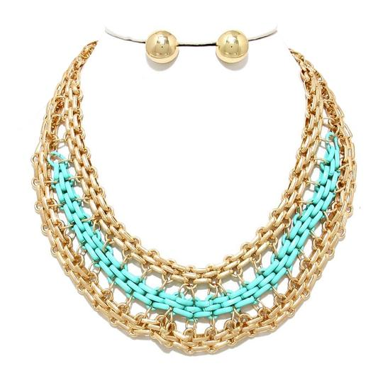 Preload https://img-static.tradesy.com/item/2170795/gold-mint-green-two-tone-chain-statement-and-stud-earring-necklace-0-0-540-540.jpg
