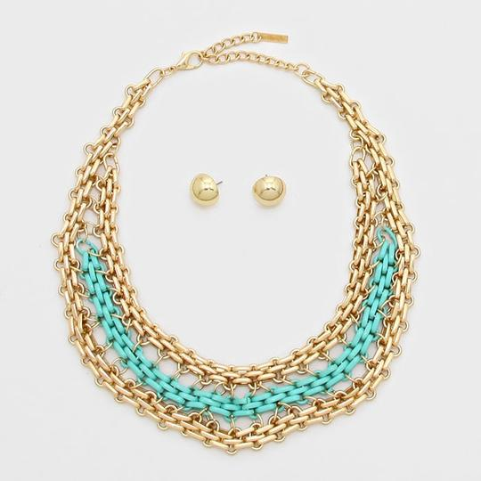 Other Two Tone Gold Chain Mint Green Statement Necklace and Stud Earring Image 1