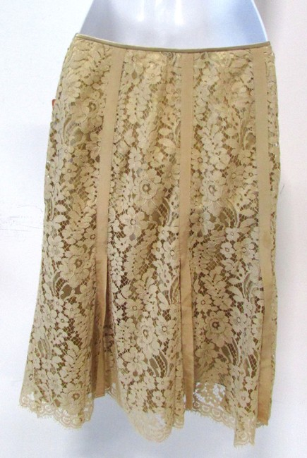 Carlisle Lace Flared A-line Casual Skirt Beige