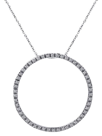 Preload https://img-static.tradesy.com/item/21708131/avital-and-co-jewelry-14k-white-gold-045-carat-diamond-bright-sparkling-eternity-pendant-necklace-0-1-540-540.jpg