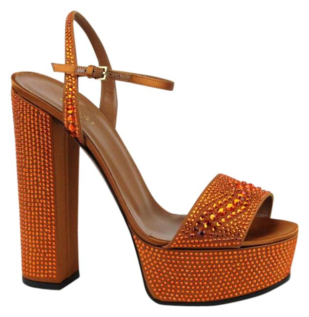 Gucci Orange W Satin Platform W/Crystals 38.5/8.5 339234 9822 Sandals Size EU 38.5 (Approx. US 8.5) Regular (M, B) Image 1