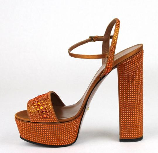 Gucci Satin Platform Crystals Orange Sandals
