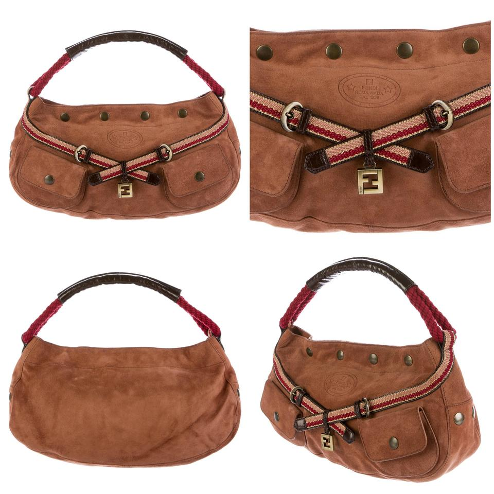 48233263 Fendi W Iconic Suede Saddle Brown W/ & Dust Cover Shoulder Bag
