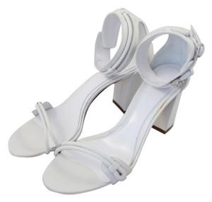 Alexander McQueen White Chunky Ankle Strap Heel Optic White Sandals