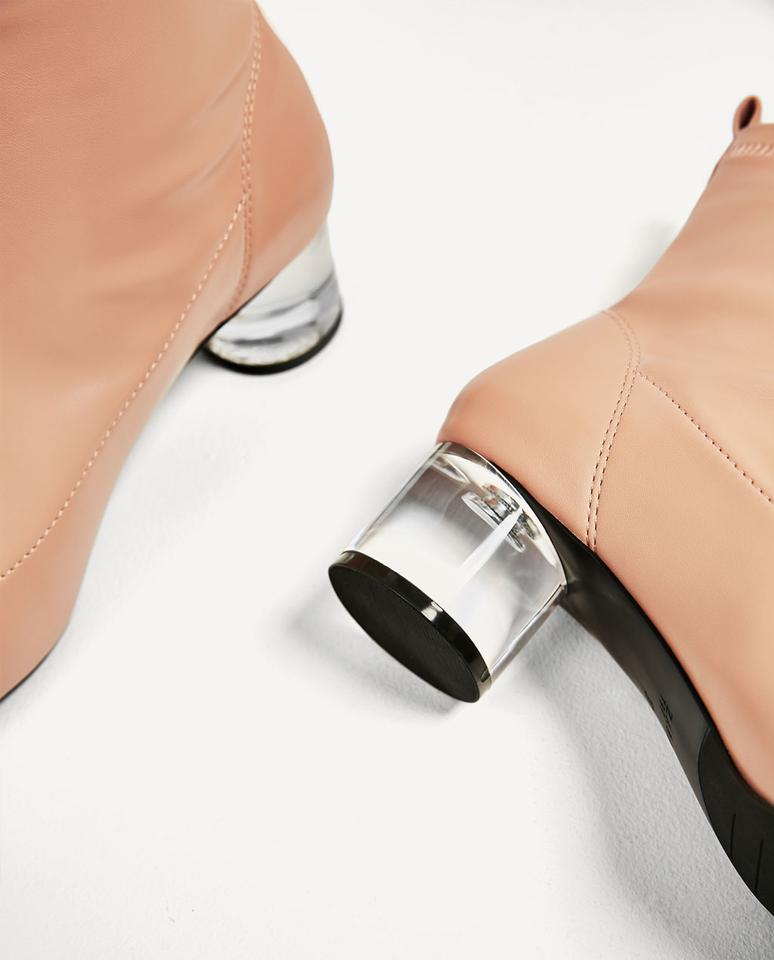 18006a55f4ad Zara Nude New 3162 201 052 Clear Heel Ankle Boots Booties Size US 7 Regular  (M