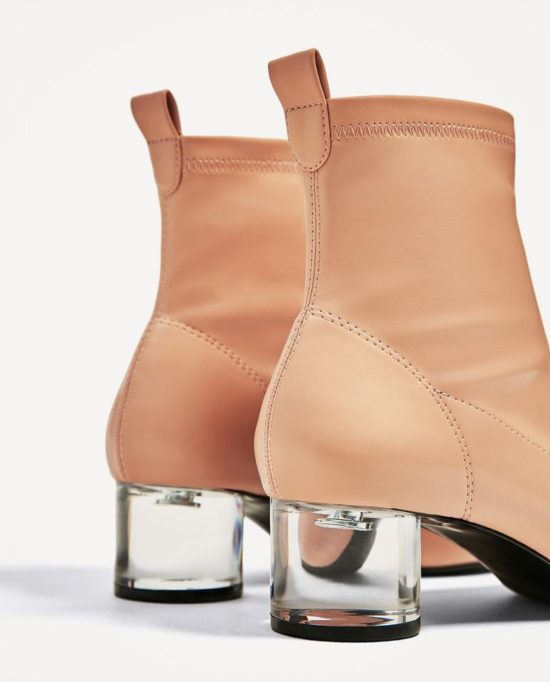 e5c62b37b08a Zara Nude New 3162 201 052 Clear Heel Ankle Boots Booties Size US 7 ...