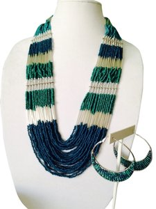 2-Piece Set, Ocean Blues Seedbead Multi-Strand Necklace & Earrings