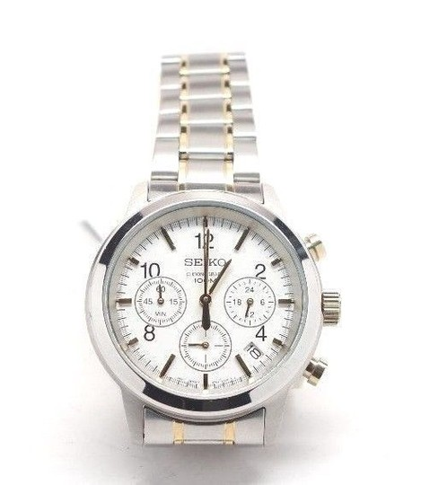 Seiko SEIKO $250 MEN'S CHRONOGRAPH TWO-TONE SS WATCH, WHITE DIAL, DATE SSB