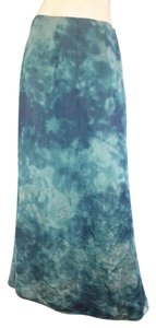Lafayette 148 New York Water Color Silk Green Silk Maxi Skirt blue
