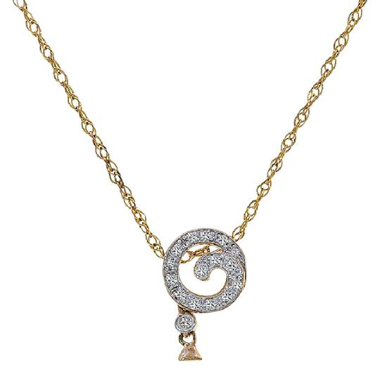 Preload https://img-static.tradesy.com/item/21708484/avital-and-co-jewelry-10k-yellow-gold-008-ct-diamond-82mm-pearl-spiral-pendant-on-chain-necklace-0-1-540-540.jpg