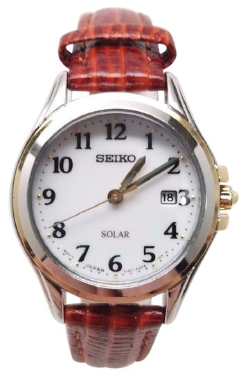Seiko Seiko Core Ladies White Dial Red Leather Strap Solar Watch SUT252