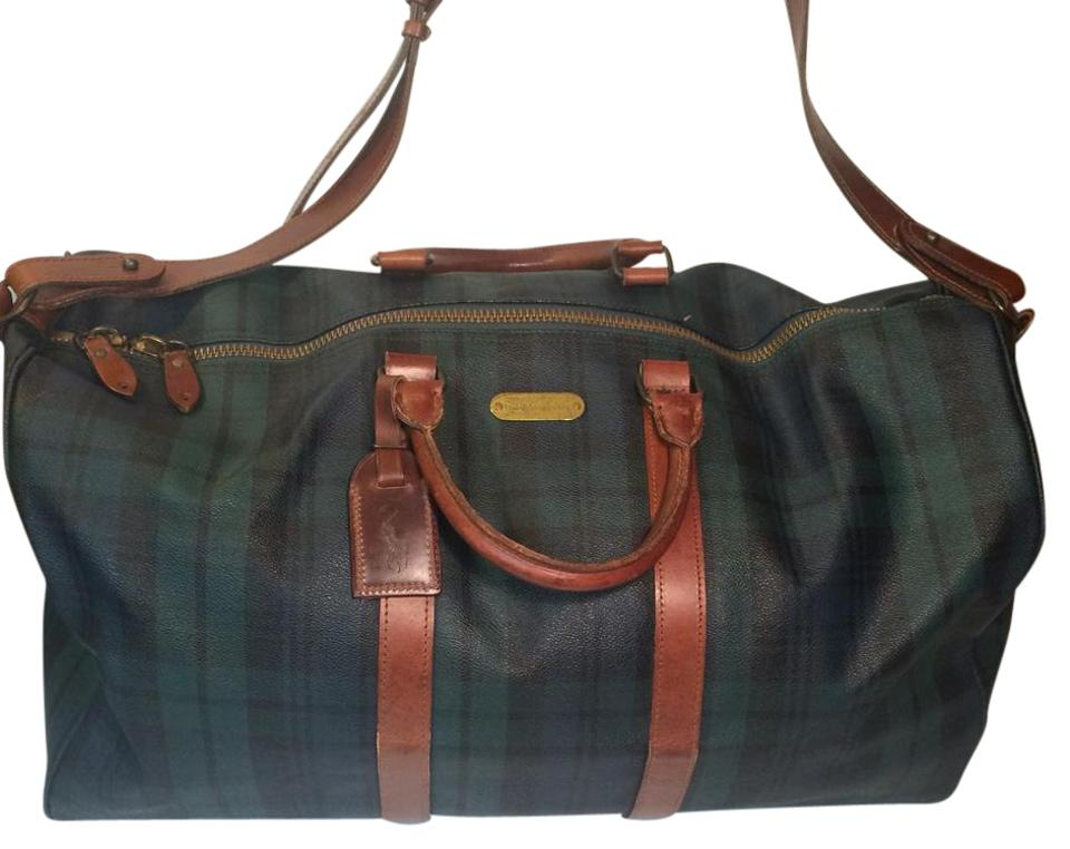 55ea89177f Polo Ralph Lauren Tartan Plaid Boston Carry On Green Pvc   Leather ...