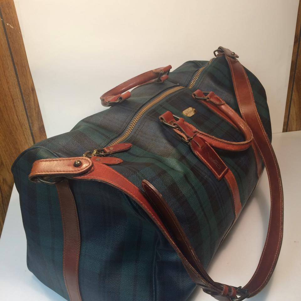 Polo Ralph Lauren Tartan Plaid Boston Carry On Green Pvc   Leather  Weekend Travel Bag - Tradesy 8cb0f8aa27a99