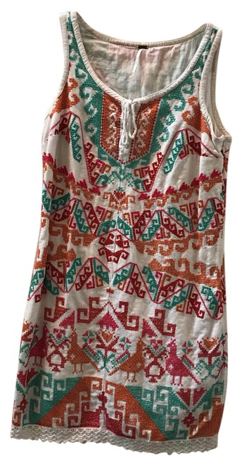 Preload https://img-static.tradesy.com/item/21708568/free-people-white-pink-teal-aztec-short-casual-dress-size-6-s-0-1-650-650.jpg