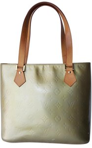 Louis Vuitton Vernis Houston Tote in Lime Gray Yellowish