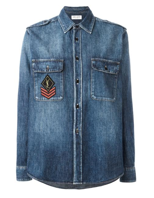 Item - Blue New Military Patch Denim Shirt S Button-down Top Size 4 (S)