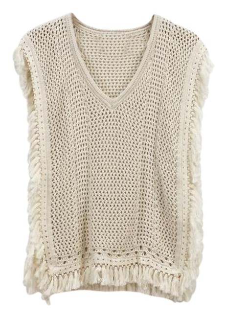 Preload https://img-static.tradesy.com/item/21708713/sincerely-jules-cream-knit-sleeveless-poncho-like-fringe-sweaterpullover-size-6-s-0-1-650-650.jpg