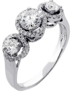 F 1.17cts Three Stone Round Cut Set In 14k White Engagement Ring