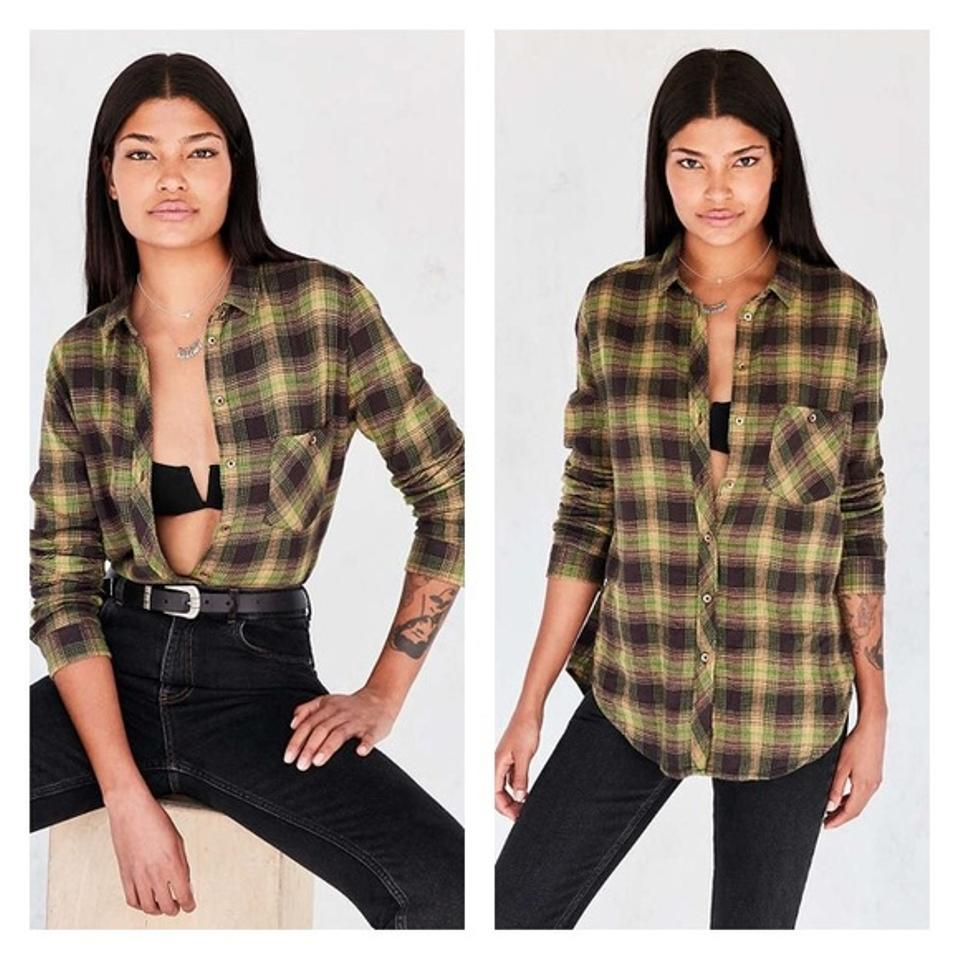 fe8f95e005f Urban Outfitters Blue Green Bdg Flannel Button-down Top Size 6 (S ...