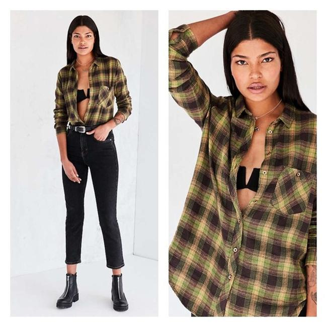 Urban Outfitters Button Down Shirt Blue, Green