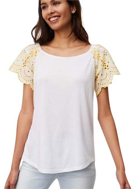 Preload https://img-static.tradesy.com/item/21708894/ann-taylor-loft-white-yellow-eyelet-ruffle-sleeve-blouse-size-8-m-0-1-650-650.jpg