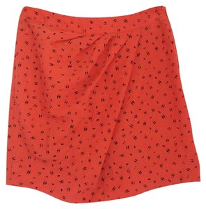 Silence + Noise Mini Skirt Orange front gathered skirt