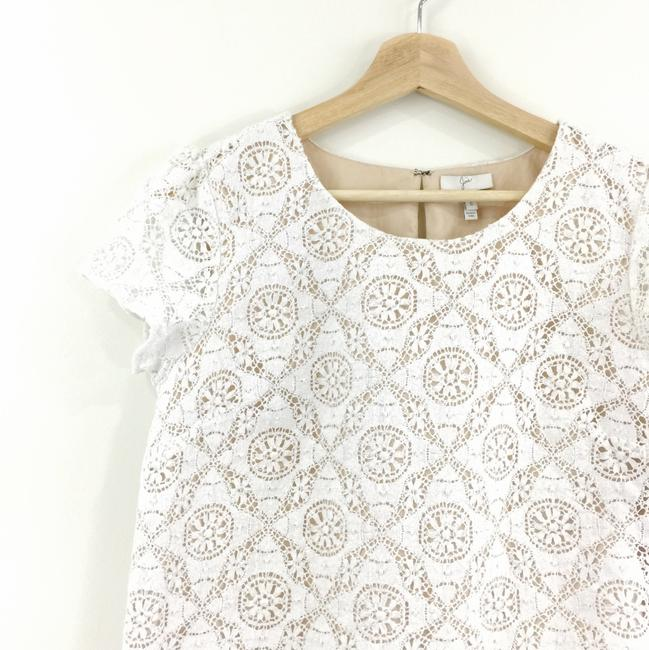 Joie Cap Sleeve Lace Crop Cream Nude Top White