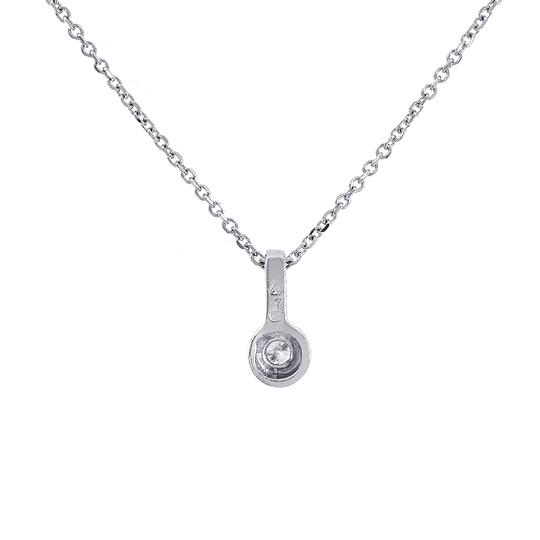 Avital & Co Jewelry 0.10 Carat Round Cut Pendant Necklace With Chain 14K White Gold
