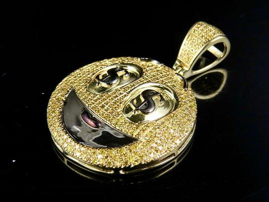 Jewelry Unlimited Mens Ladies Canary Diamond Dollor Sign Smiley Emoji Pendant 1.0 Ct