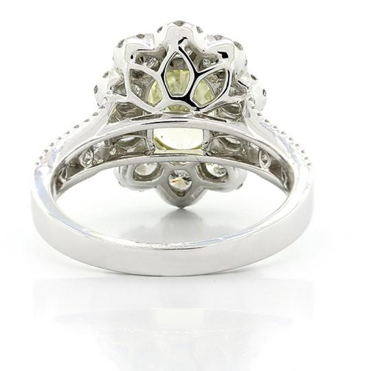 F 3.32 Cts Oval Cut Yellow Flower Shape Halo Set In 18k W Engagement Ring