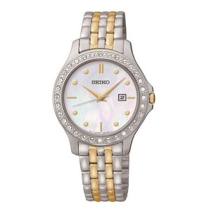 Seiko Seiko Quartz Ladies MOP Date Crystal Two Tone Bracelet Watch SXDF91