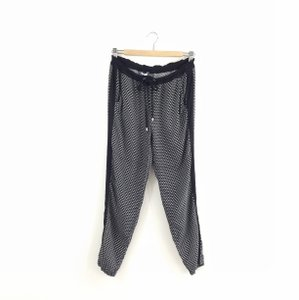 Splendid Side Stripe Tuxedo Jogger Drawstring Relaxed Pants Black printed